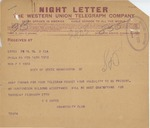 Telegram From Clarence Sears Kates to Philander C. Knox, February 16, 1913