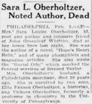 Sara Oberholtzer Article From the Pittsburgh Post-Gazette- February 4, 1930