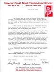 Letter of Invitation to the Eleanor Frost Snell Testimonial Dinner, March 12, 1970