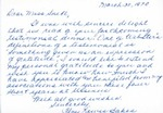 Letter From Floy Lewis Bakes to Eleanor Snell, March 30, 1970