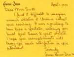 Letter From Gwenn Bream Drum to Eleanor Snell, April 1, 1970