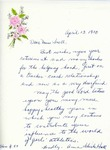 Letter From Anne Schick Hall to Eleanor Snell, April 13, 1970