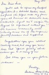 Letter From Barbara Sheese Wilson to Eleanor Snell, May, 1970